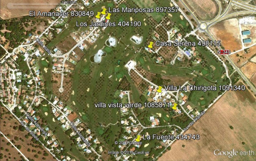 Location de vacances - Maison - Villa à San Andrés Golf - Une vue aerienne de San Andres Golf et le club de Golf Campano