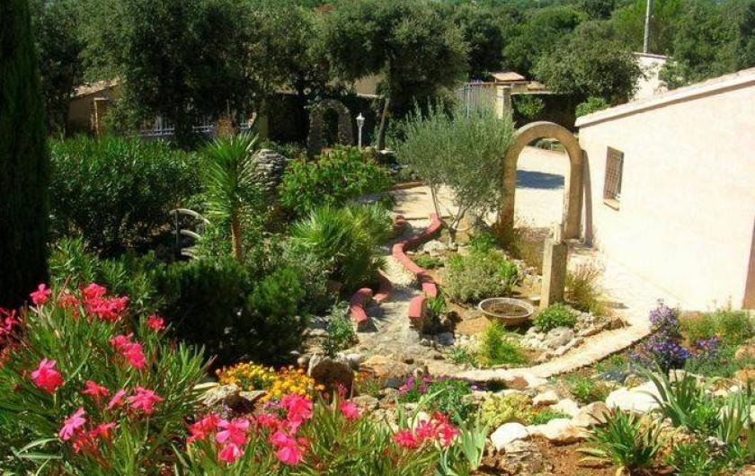 Location de vacances - Villa à Vers-Pont-du-Gard - Partie avant en jardin fleuri, parie arrière en garrigue, total 1700 m2