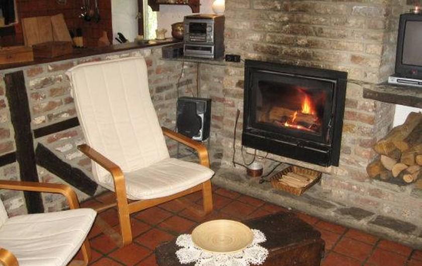 Location de vacances - Gîte à Xhierfomont - Feu à cassette pour ambiance feu de bois au salon.  Au Vieux Noyer