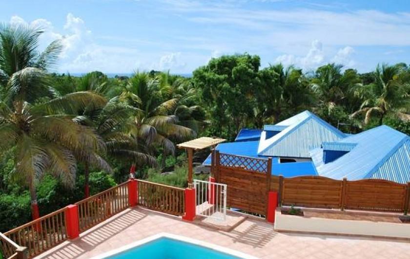 Location de vacances - Villa à Sainte-Anne - Pisicine vue aérienne