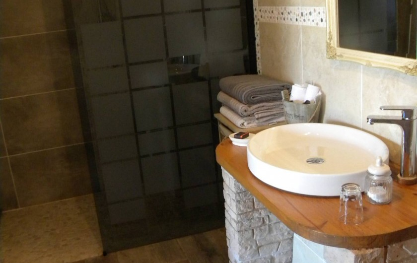 Location de vacances - Chambre d'hôtes à Castelnau-de-Montmiral - salle de douche à litalienne pour pers à mobilité réduite  chambre tadelac