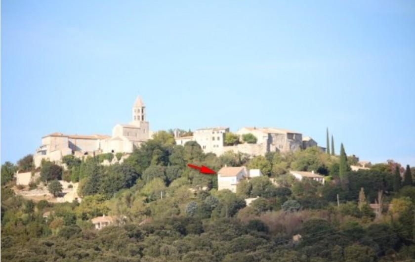 Location de vacances - Gîte à La Garde-Adhémar - Situation du Gîte dans le village de la garde Adhémar (flèche rouge).