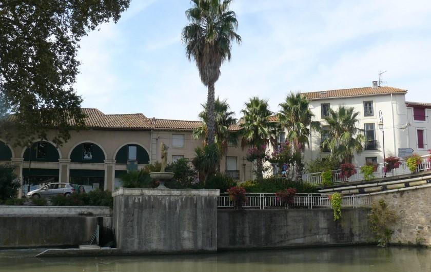 Location de vacances - Chambre d'hôtes à Villeneuve-lès-Béziers - La Maison du Canal (à droite) dans son environnement : le Canal, les commerces