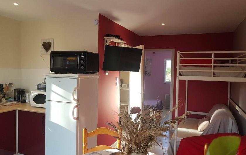 Location de vacances - Gîte à Rieux-en-Val - Espace de vie du gite Carignan (lit 1 personne + divan dépliant sur demande)