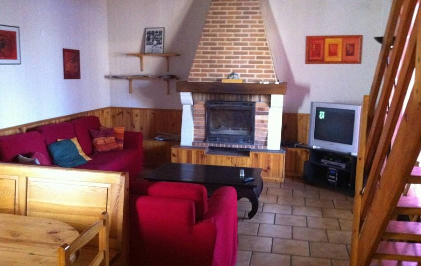 Location de vacances - Gîte à Vaour - salon 2 canapés , cheminée