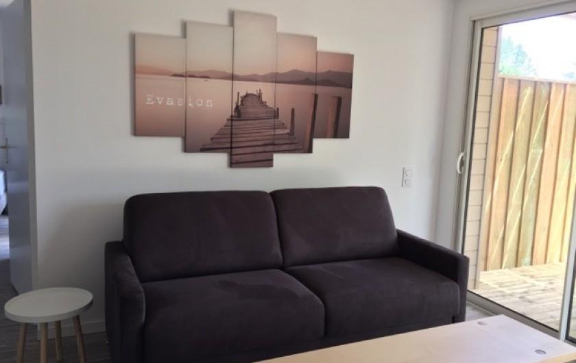 Location de vacances - Appartement à Biscarrosse - Appartement MERMOZ Salon canapé lit et cuisine ouverte équipée et aménagée