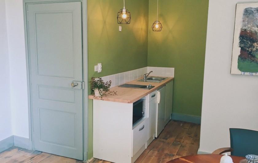 Location de vacances - Gîte à Uchaux - La kitchenette avec deux plaques, un micro-ondes et un petit frigo.