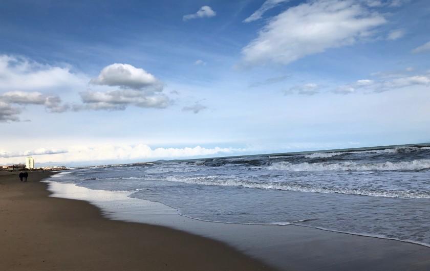 Location de vacances - Appartement à Valras-Plage - balade sur la plage en période calme