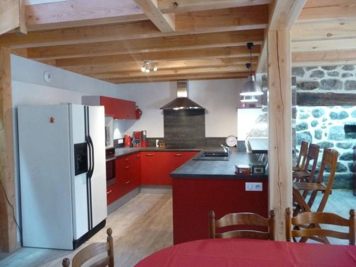 Location de vacances - Gîte à Marchastel - rez-de-chaussée - cuisine équipée ouverte sur séjour