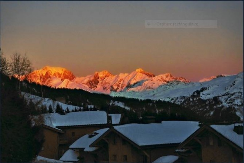 Location de vacances - Chalet à Les Saisies - Coucher de soleil sur le Mont- Blanc vue de vos appartements.