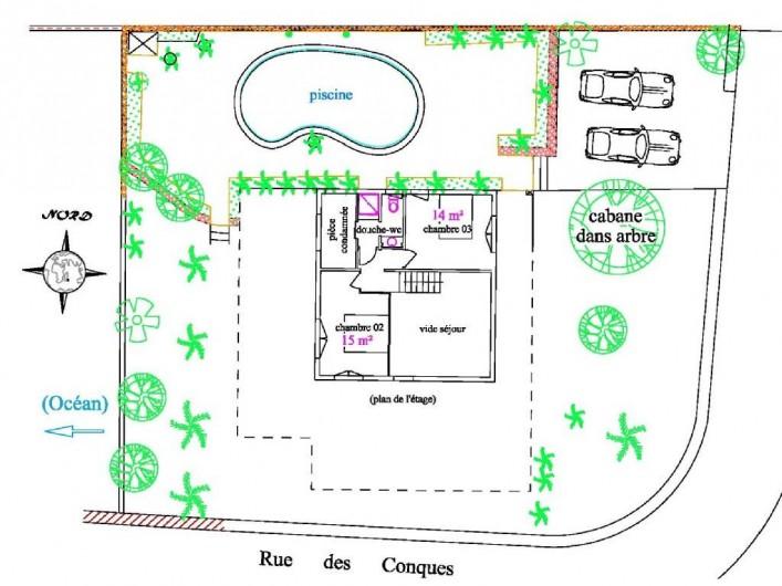 Location de vacances - Villa à La Saline-Les-Bains - Plan de l'étage (la cabane n'existe plus)