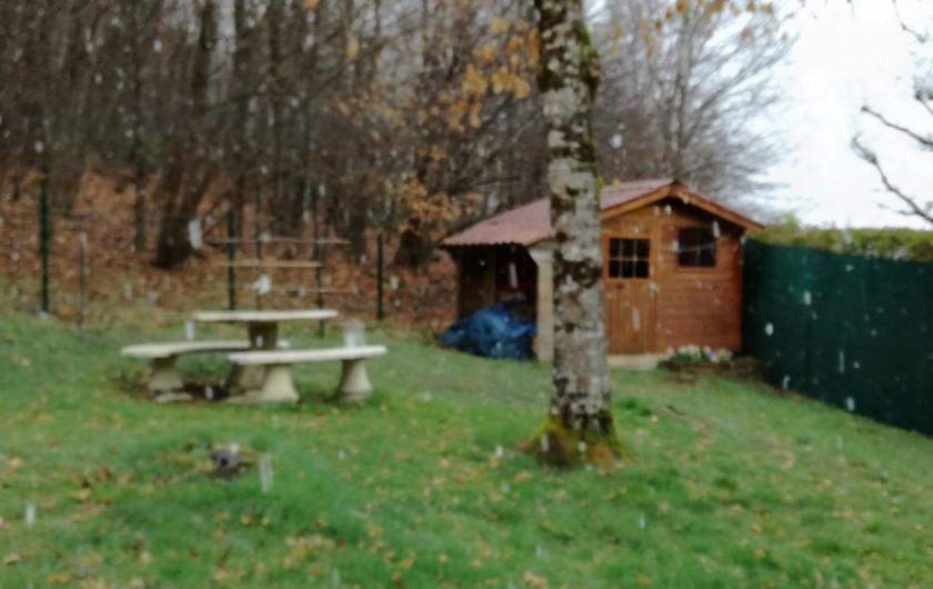 Location de vacances - Chalet à Saint-Gérons - Enclos à l'arrière du chalet donnant sur le bois