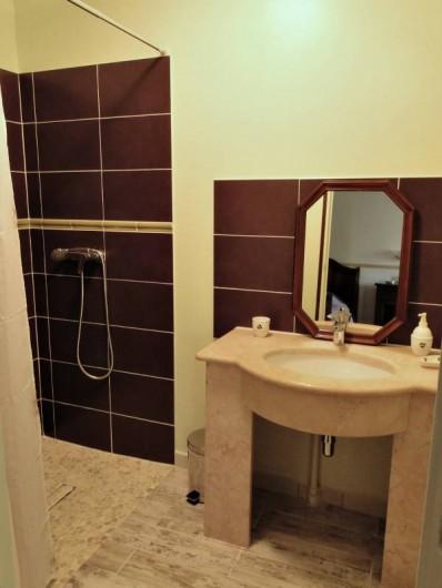 Location de vacances - Chambre d'hôtes à Andilly - La salle de bains de la chambre Vignes Vasque en marbre et douche à l'italienne