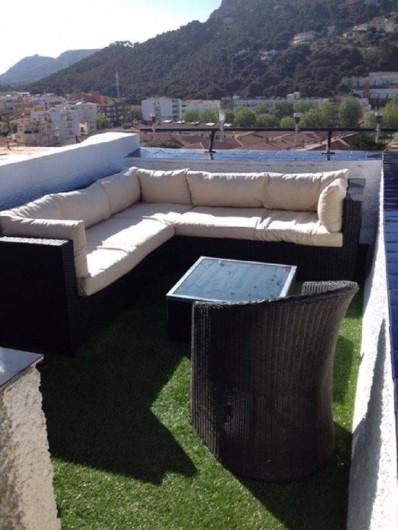 Location de vacances - Appartement à L'Estartit - Terrasse arriere Panoramique avec Salon de Jardin sur Gazon et tonnelle