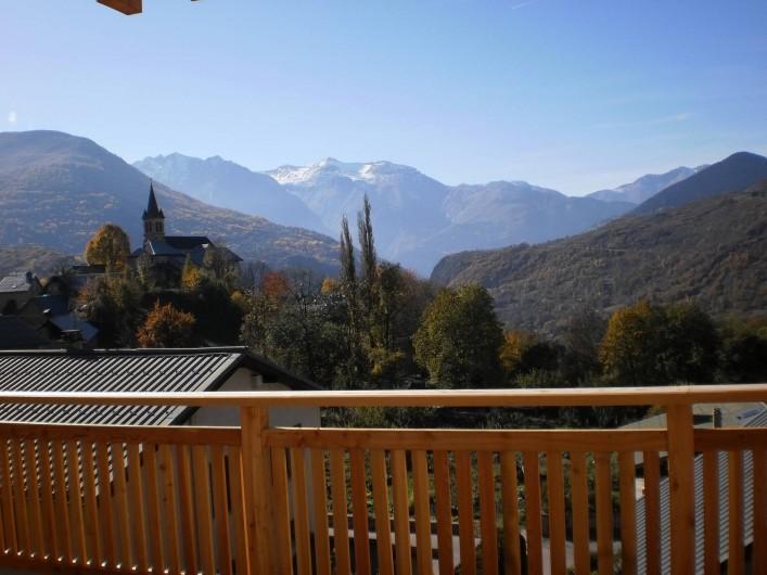 Location de vacances - Chalet à Mizoën - vue de  la terrasse l'été