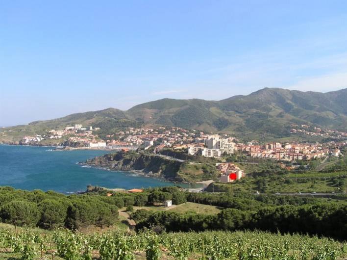 Location de vacances - Appartement à Banyuls-sur-Mer - Vue depuis les hauteurs