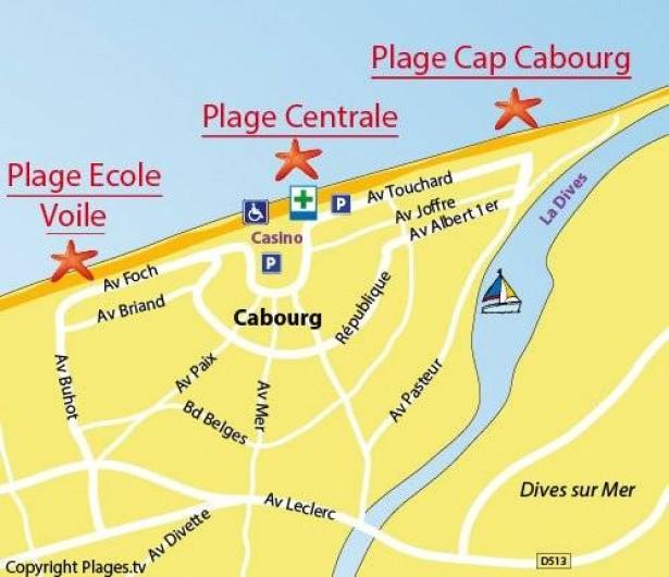 Location de vacances - Appartement à Cabourg - SITUATION DE L'IMMEUBLE central face au club de voile