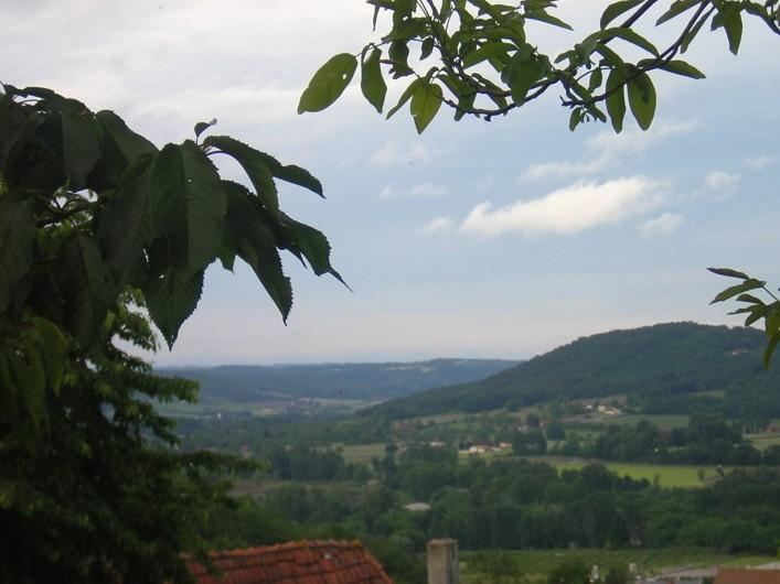 Location de vacances - Bungalow - Mobilhome à Le Buisson-de-Cadouin - Vue de notre propriété, vallées de la Dordogne et de la Vézère