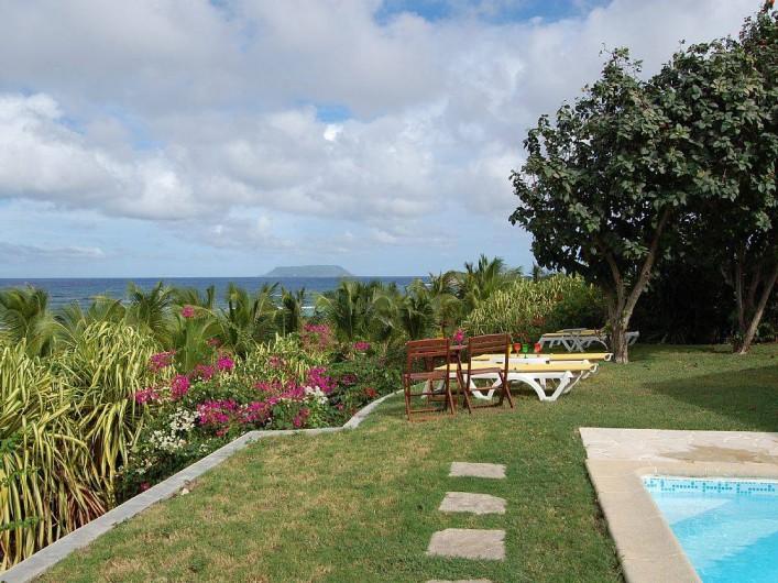Location de vacances - Villa à Saint-François - Vue sur l'île de la Désirade et sur le lagon.