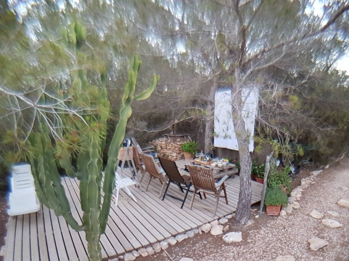 Location de vacances - Villa à Cap de Barbaria - Chill-out area in the garden set up for summer cinema