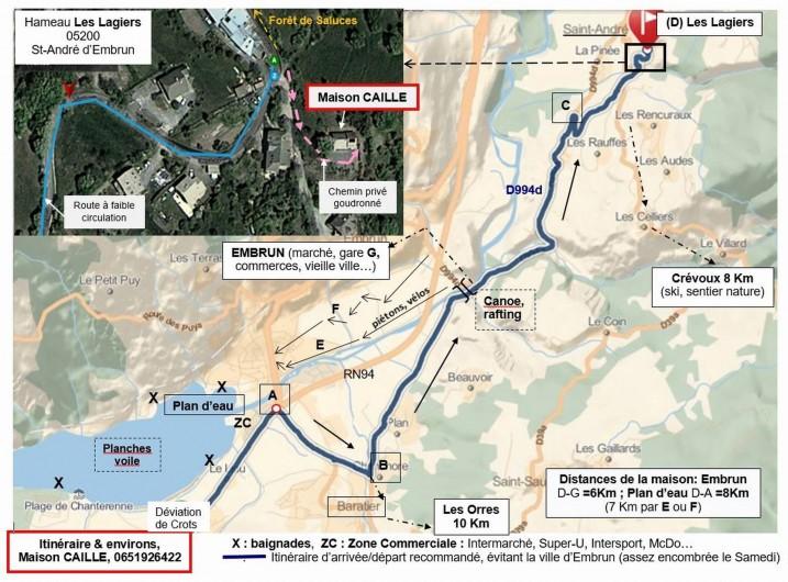 Location de vacances - Villa à Embrun - Notre emplacement, à 10mn du lac ou du ski, au départ de nombreuses promenades