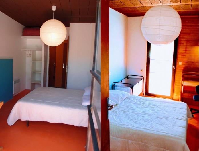 Location de vacances - Villa à Embrun - Chambre du bas: lit de 140cm, placard-penderie, bureau, lit d'appoint oud'enfant
