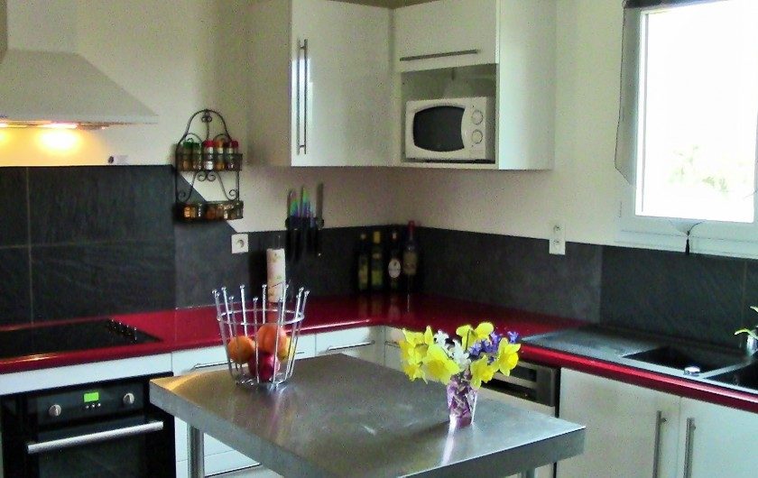Location de vacances - Villa à Lalbenque - LOTus, cuisine équipée, four, micro-ondes, lave-vaisselle, frigo américain