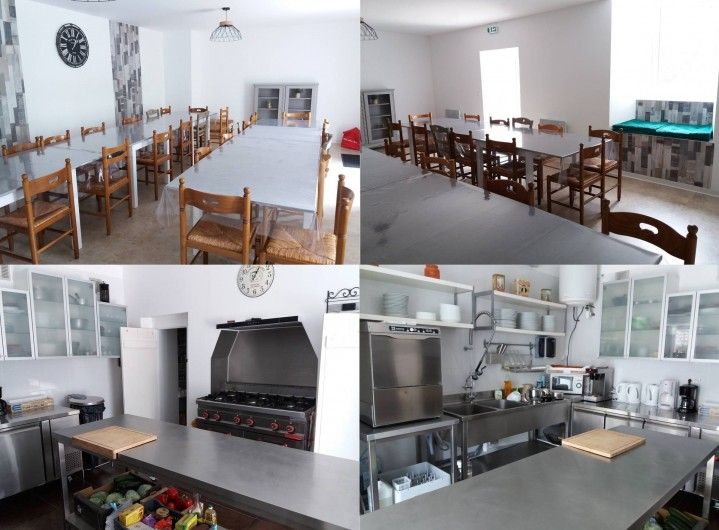 Location de vacances - Gîte à Valgorge - cuisine professionnelle et  sa salle de restauration (32 pers)