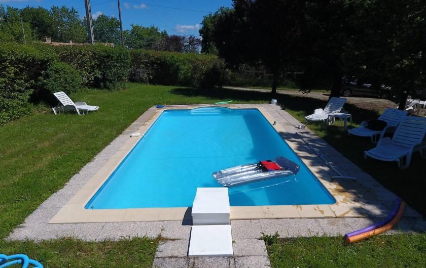 Location de vacances - Gîte à Vaour - piscine privée  8x4 profondeur 1m20 à 1m80m transats