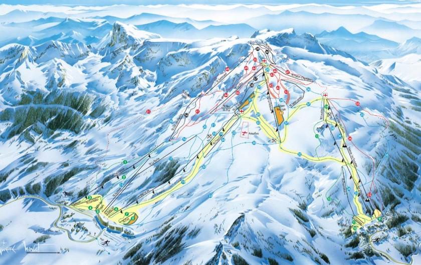 Location de vacances - Appartement à La Joue du Loup - plan pistes, liaison entre la Joue du Loup la station de ski de Superdévoluy