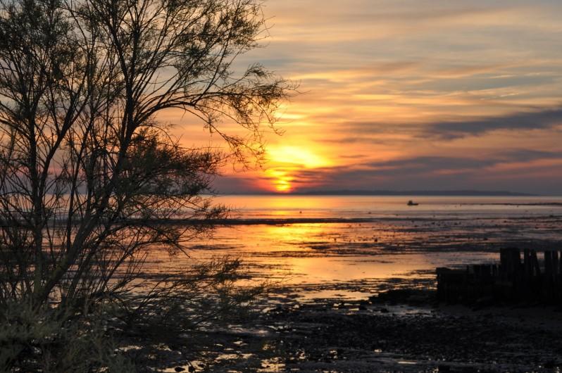 Location de vacances - Villa à Manhattan - coucher de soleil à marée basse face à la villa